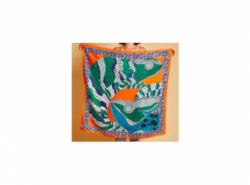 Inoui - Carré en soie zelig orange