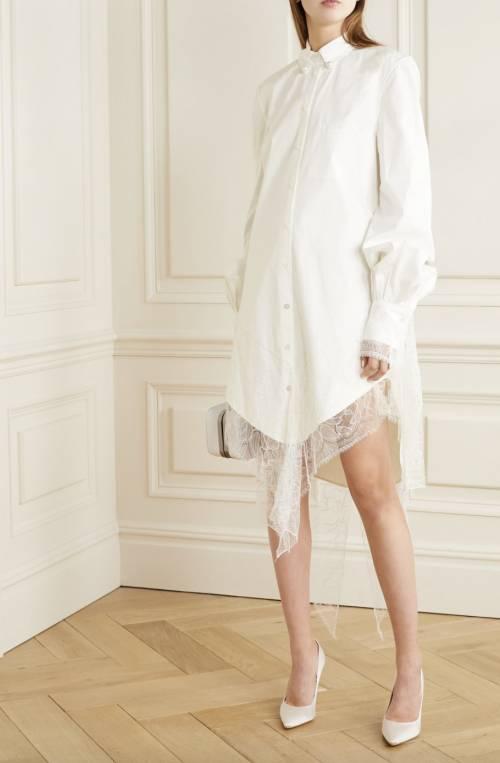 Danielle Frankel - Robe-chemise en popeline à finitions dentelle