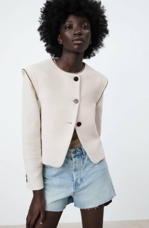 Zara - Veste structurée à épaulettes