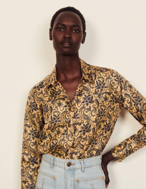 Sandro - Chemise en soie à imprimé