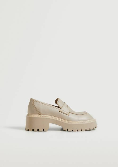 Mango - Chaussures en cuir semelle track