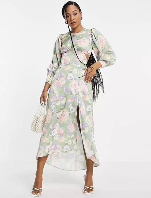 Miss Selfridge sur Asos.com - Robe longue fleurie en satin