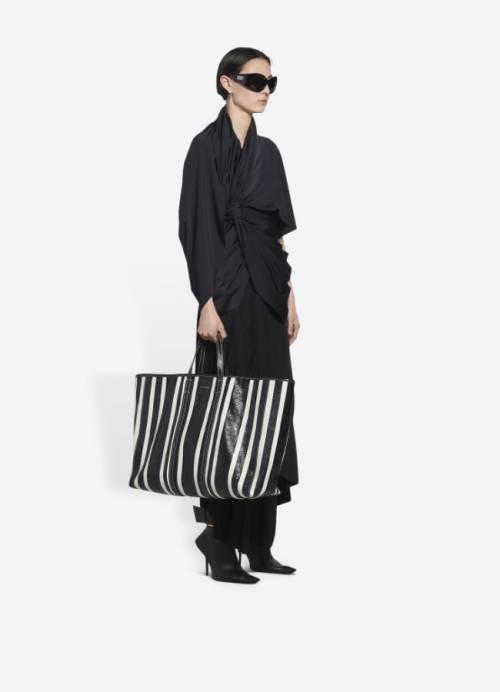 Balenciaga - Grand sac cabas en cuir et toile de coton