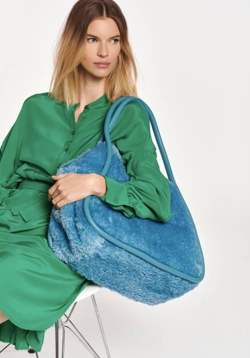 Essentiel Antwerp - Grand sac cabas en fausse fourrure bleue
