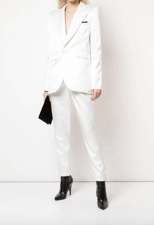 Saint Laurent - Pantalon de costume à taille haute en soie