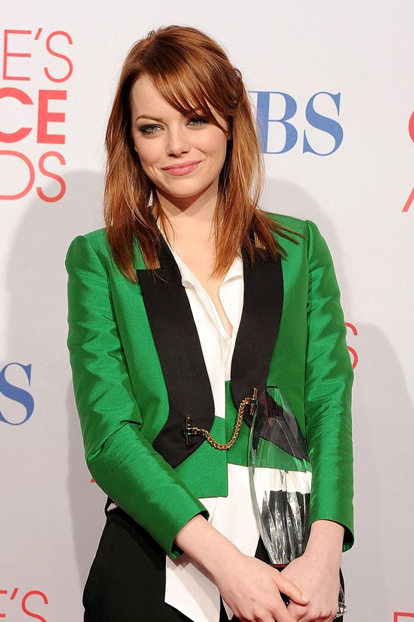 emma stone green jacket gucci