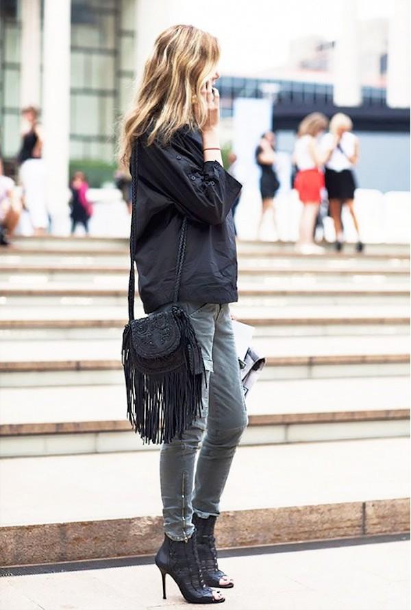 Street Style fringe bag black