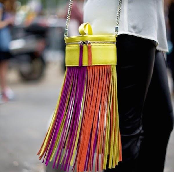 Street Style color fringe bag