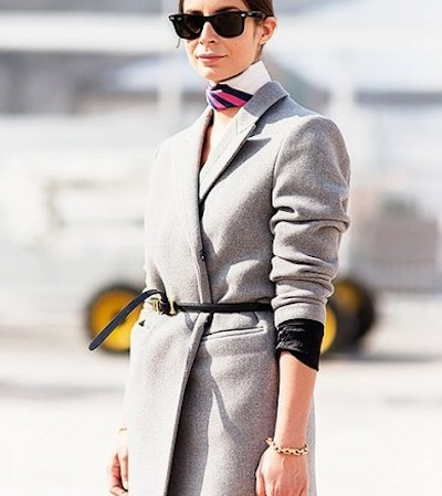 belted jacket street style