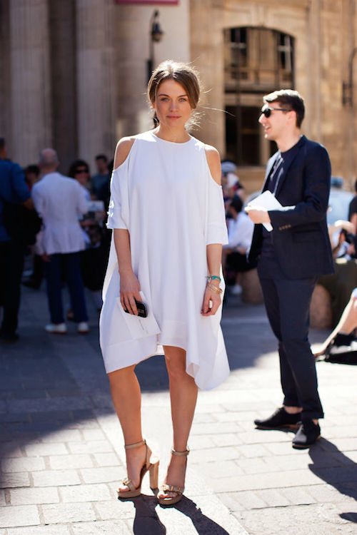 robes blanches street Style white dress