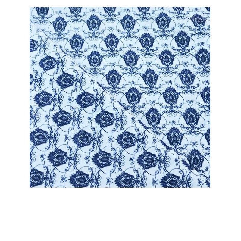Coton imprimé Motif baroque sur fond blanc - Les coupions de St Pierre