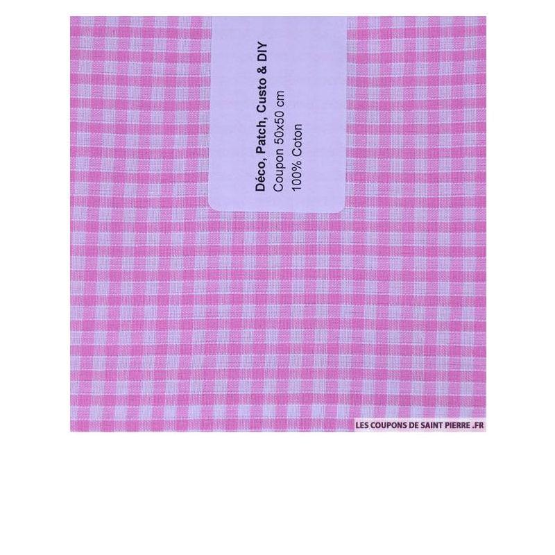 Coton Vichy rose- Les coupions de St Pierre