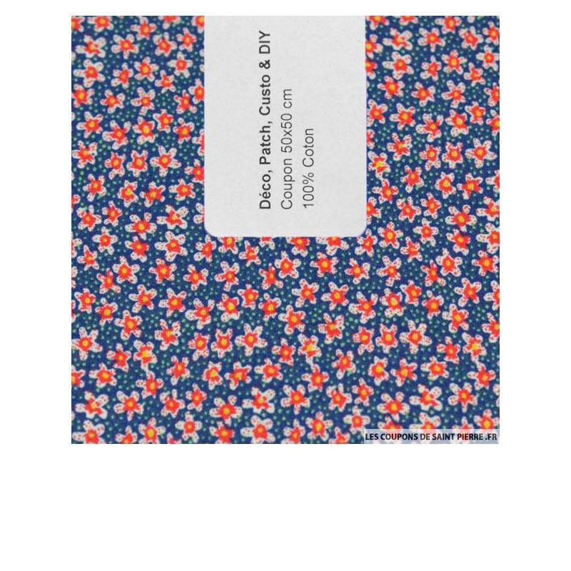 Coton imprimé fleurs rouges sur fond bleu - Les coupions de St Pierre