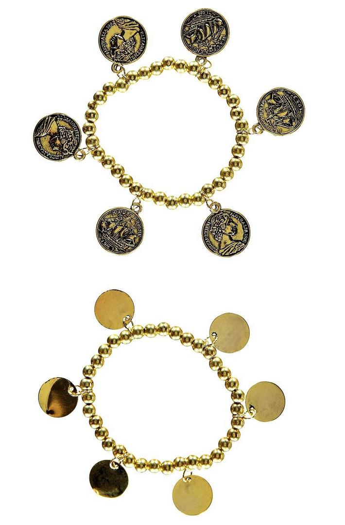 Lot de 2 bracelets à perles et pièces