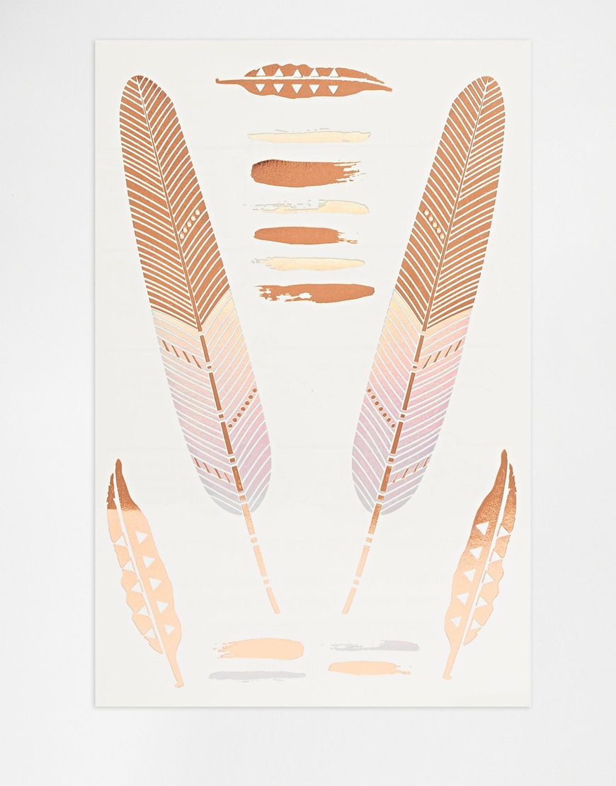 Orelia tatoo plumes or rose et nacré