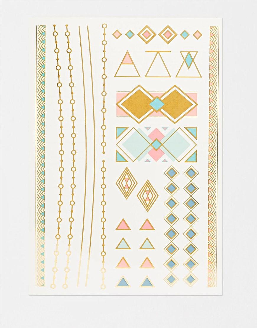 Orelia tatoo motifs géométriques et chaines