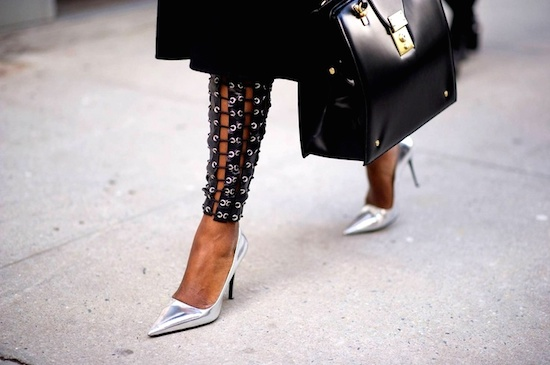 street style escarpin argent chaussure
