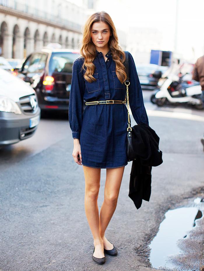Street Style robe en jean
