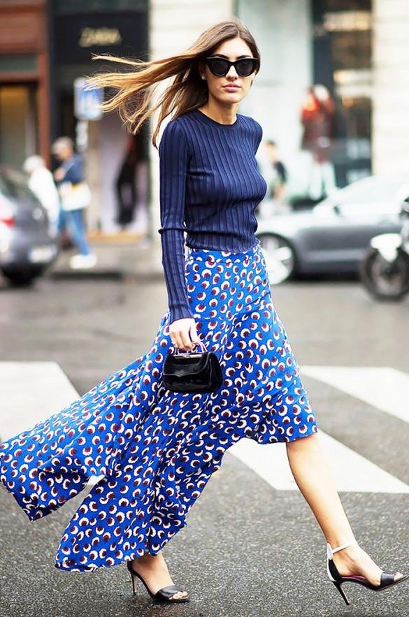 street style jupe bleu à motifs