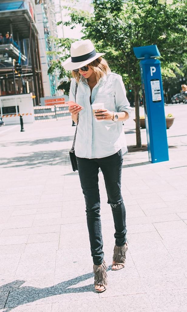 panama - chemise en jean - boy chanel - talon beige en daim a franges