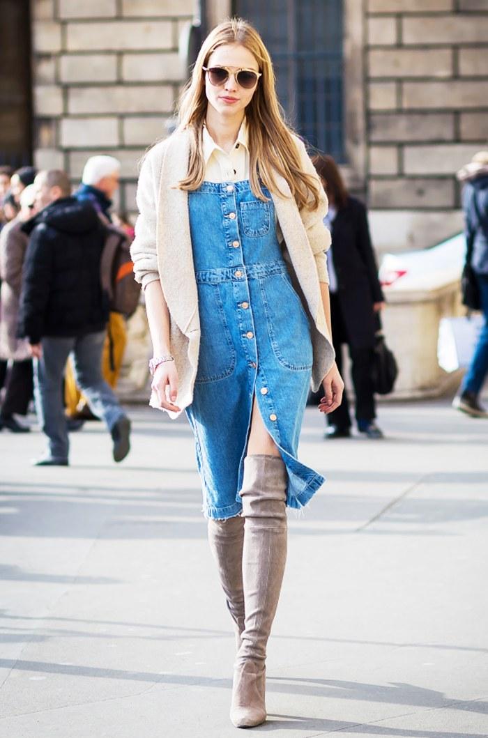 robe en denim streetstyle fashionista
