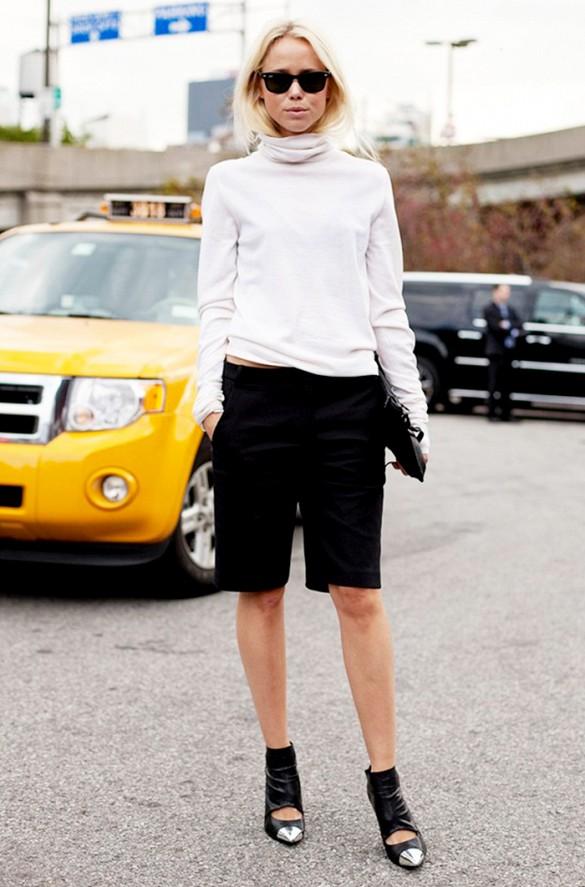 blogueuse street style short long noir