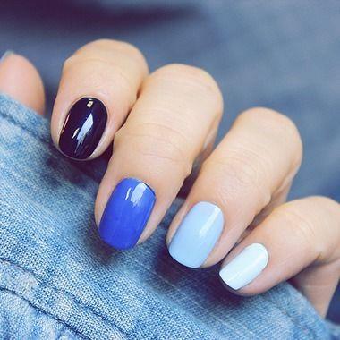 vernis bleu dégradé ongles nail