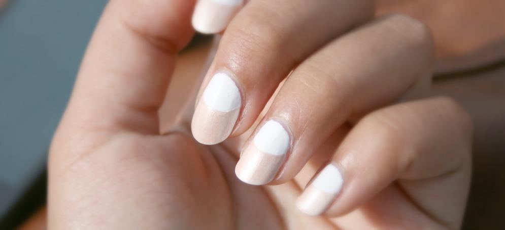 Tuto nail art blanc et beige moon