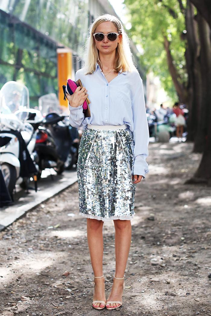 Imax Tree street style sequin skirt