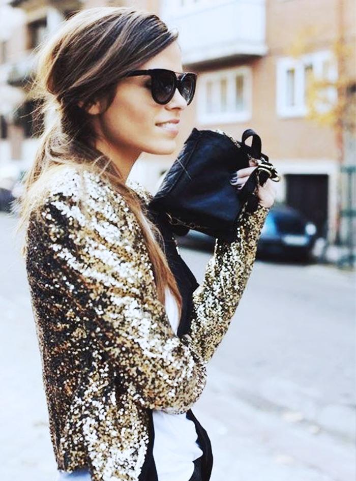 Pinterest sequin veste dore