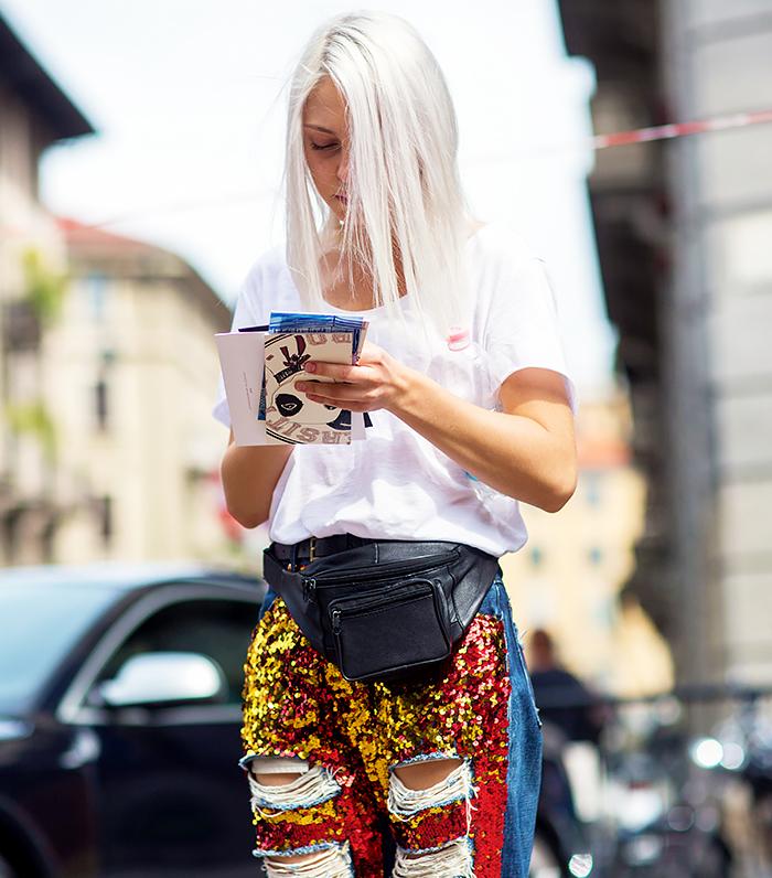 The Styleograph short en jean a sequin