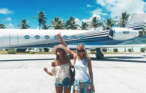 girl travel plane