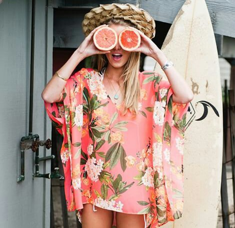 healthy girl grapefruit