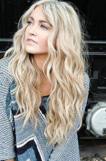 blond girl wavy hair