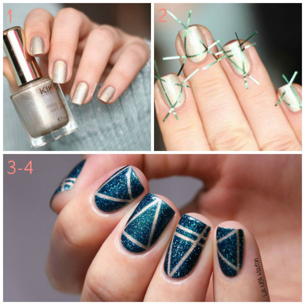 nail art été bleu métallisé graphique