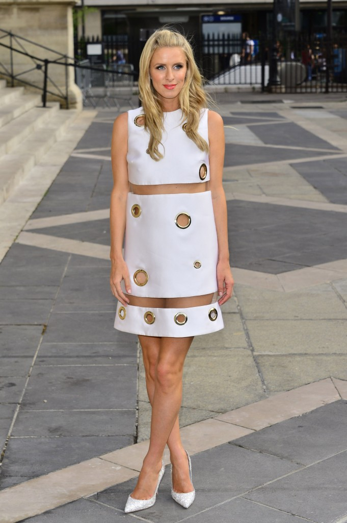 Haute Couture Fashion Week Winter 2015/2016 - Versace - Arrivals. Nicky Hilton arriving without wearing underwear