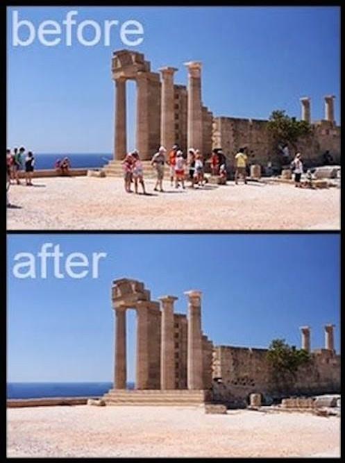 Supprimer les touristes d'une photo