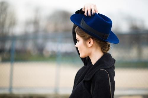 street style chapeau maison michel bleu