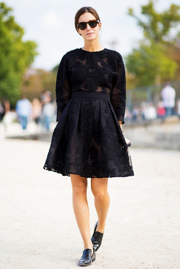 street style black dress