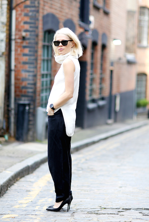 street style pull sans manches blanc