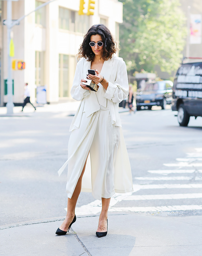 street style trench blanc