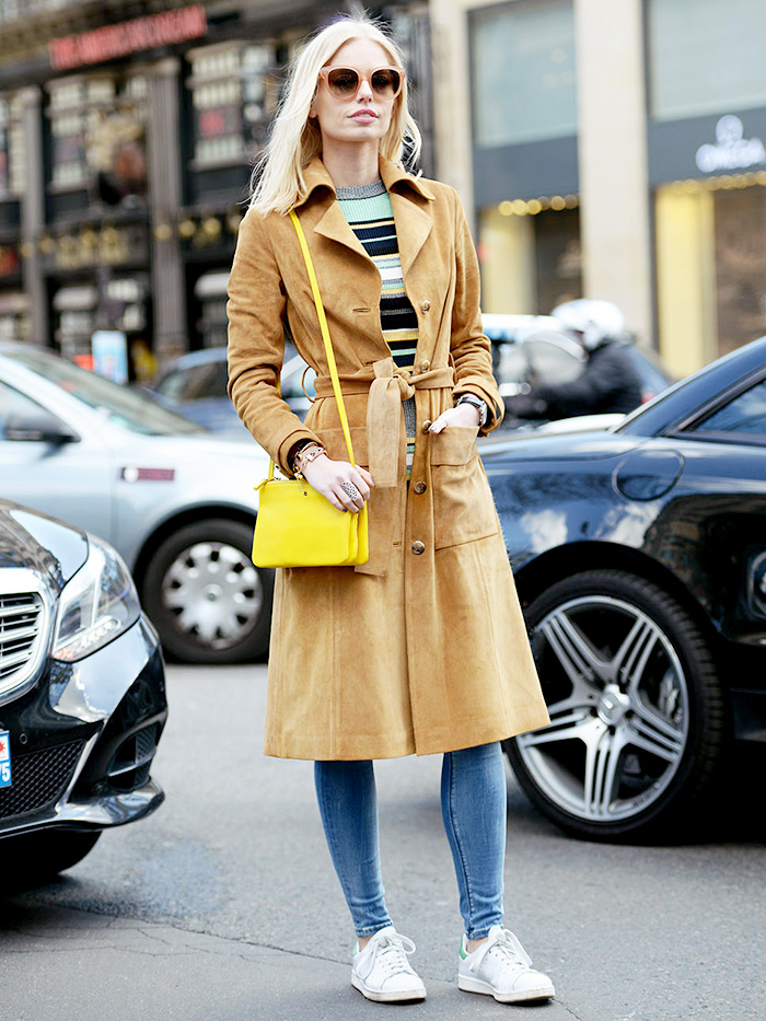 street style trench camel