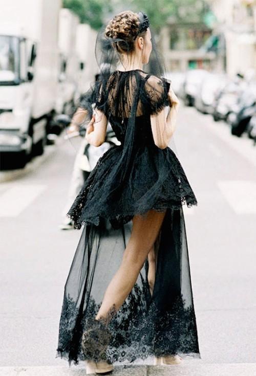 street style dentelle noire jupe