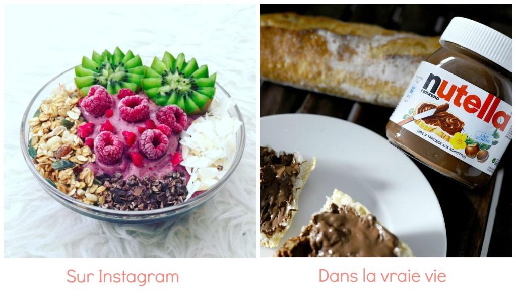 différence petit dej instagram et vraie vie