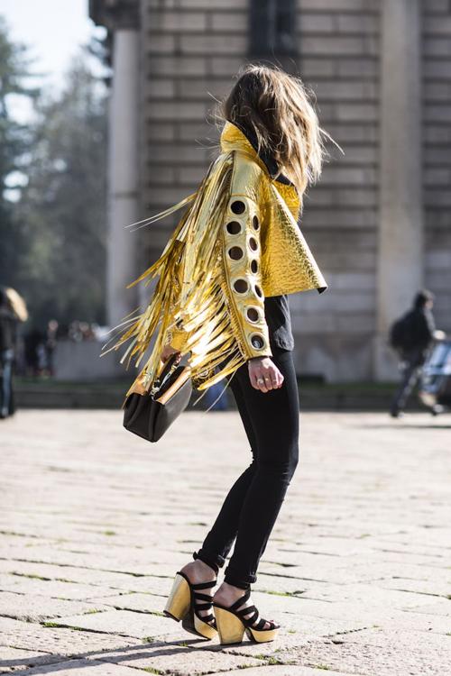 gold veste or frange glitter