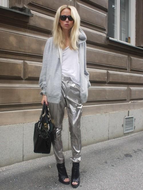 pantalon argent street look brillant