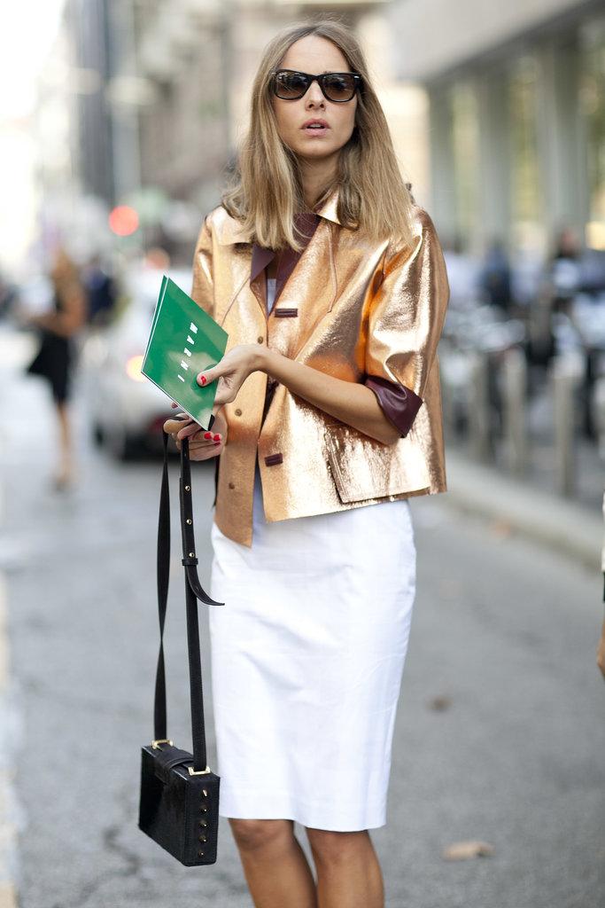 veste or dorée street look glitter