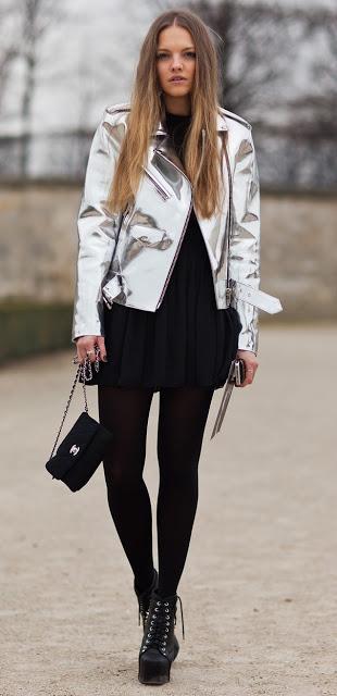 veste glitter argentée street style silver