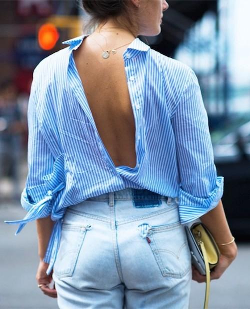 street style chemise bleue dos nu
