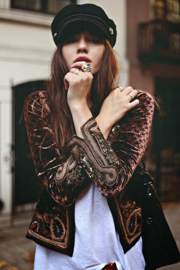 outfit velours veste broderie